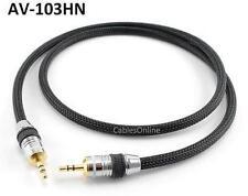 """3ft Premium Pro 3.5mm (1/8"""") Stereo Audio Male/Male Net Sleeve Cable, AV-103HN"""