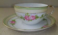 Antique Nippon Hand Painted Cup & Saucer Pink Flowers Rising Sun Mark China Gold