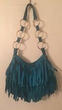 Yves Saint Laurent rive gauche turquoise leather & suede fringe small purse