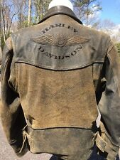 Harley Davidson Billings Brown Leather Jacket Men Large Distressed