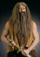 MENS LONG VIKING SAXON WARRIOR DWARF BROWN WIG & BEARD FANCY DRESS COSTUME NEW