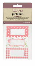 Kitchen Craft JAR LABELS Pink Check + ROSE self adhesive Jam Jar Pot GIFT tag