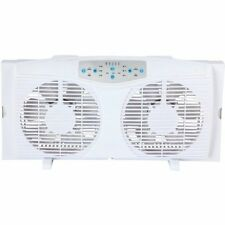 "Optimus F-5286 8"" Reversible Twin Window Fan With Thermostat (f5286)"