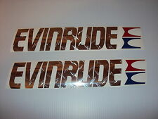 2 EVINRUDE Chrome diamond plate Marine Vinyl Evinrude outboard decals
