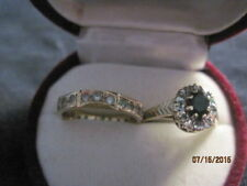 Antique Set: English Gold Sapphire and Diamond Ring & Diamond Band Ring Size 5