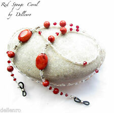 ✫RED SPONGE CORAL✫ BEADED GEMSTONE EYEGLASS GLASSES SPECTACLES CHAIN HOLDER CORD