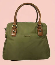CALVIN KLEIN Olive Nylon/Brown Leather Satchel Bag Msrp $178.00
