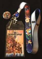 Kingdom Hearts 2 Lanyard With Assorted Characters  Button Pin.