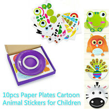 10 Kids Crafts Paper Plate Cartoon Animal Stickers Mess-free Safe Creativity Toy