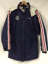 Vtg ADIDAS Navy Blue NYLON Quilted Parka Stadium long Coat L.K WOOD Soccer Large