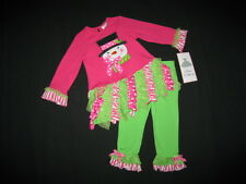 "NEW ""Fushia & Lime Snowman"" Tutu Pants Girls 24m Christmas Winter Baby Clothes"