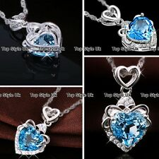Blue Crystal Heart Pendant Silver Necklace Chain Cubic Zirconia Gift for Her SU1