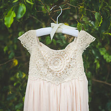 Beige Tan Crochet Flower Girl Dress, Shabby Chic Ivory Dress, Rustic Wedding Dre
