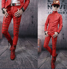 New Chic Men's Pencil Slim Buckle Straight Patent Leather Casual Trousers Pants