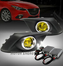 14-16 MAZDA 3 HATCHBACK/SEDAN BUMPER FOG LIGHTS LAMPS YELLOW W/50W 6K XENON HID