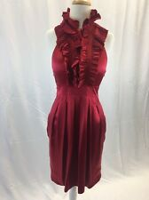 BCBG Maxazria Size 6 100% Silk Dress Women's Red Ruffled Lined Sleeveless Formal