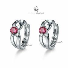 18k white gold gf Swarovski crystal huggies earrings cute classic rose red