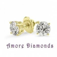 1.04 ct E I1 natural ideal round diamond solitaire stud earrings 18 yellow gold