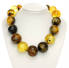 CERTIFIED!Unique Antique Amber Bead Necklace with Insects221gr A0200 RRP£8999