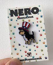 Chihuahua Dog Soft Enamel Lapel Pin USA flag American Christmas Stocking Badge