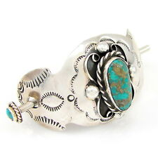 Native American CHIMNEY BUTTE Sterling Silver Turquoise Hair Stick Barrette | G