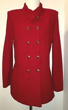 ST JOHN COLLECTION Marie Gray Red Textured Knit Double Breasted Jacket Sz 6 MINT