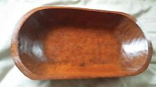 """Primitive Hand Hewn Carved Wood Small Trencher Dough Butter Bowl Treen 19 3/4"""""""