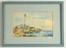 Original watercolor painting signed matted framed glass McBiide lighthouse beach