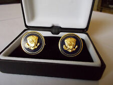 CUFF LINKS 24 K GOLD-PLATED PRESIDENT BARAK OBAMA PRESIDENTIAL BLUE COBALT