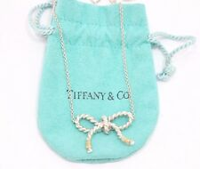 Tiffany & Co. Sterling Silver & K18 Gold Large Twist Ribbon Pendant Necklace