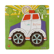 Wooden Police Car Jigsaw Toys Children Kids Education And Learning Puzzles Toys