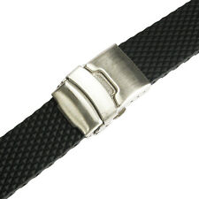 18mm deBeer 961 Black Waffle Silicone Rubber Deployant Dive Watch Band Strap