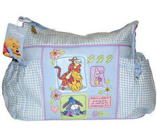 Diaper Bag Large Pooh & Friends Baby Blue Checker NEW