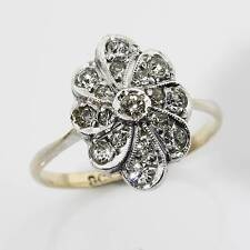Fine Art Deco 9ct Gold Diamond Paste Cluster Ring Size M/6.25 Gift Boxed 17FNACS