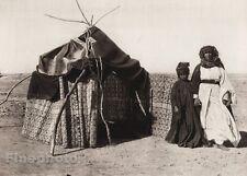 1925 Vintage ARAB FELLAHIN Marriage Hut Couple Landscape ISRAEL Palestine Art