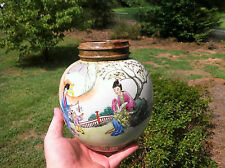 Chinese Famille porcelain jar with wood cover 8""
