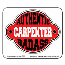 "AUTHENTIC BA CARPENTER (3 Pack) Hard Hat Printed Sticker (size: 2"" color: RED)"