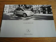 MERCEDES BENZ A CLASS PRICE LIST SALES BROCHURE JUNE 2001