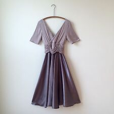 J Peterman Steel Lavender Gray Viscose Jersey Evening Gown Formal Dress Sz 6 VGC