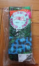 NWT KENZO x H&M 3 PACK WOMEN'S PATTERNED SOCKS ORANGE / GREEN US 8-9.5