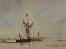 WATERCOLOUR BARGES ON THE ORWELL  ARTIST STANLEY BENNETT FREE SHIPPING