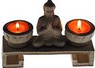 Lime Stone Thai Buddha Twin Tea Light Candle Holder Ornament