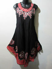 Dress Fits Plus 1X 2X 3X Plus Sundress Black Red Tunic Batik A Shape NWT G625