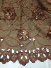 """GOLD BROWN SILVER HANDCUT EMBROIDERY RHINESTONE BRIDAL LACE FABRIC 50"""" WiIDE 1 Y"""