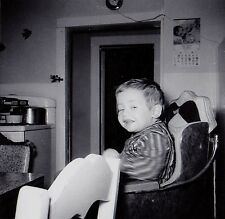 Old Antique Vintage Photograph Little Boy Sitting in High Chair in Retro Kitchen