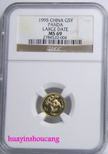 1995 G5Y 1/20oz China large date gold panda coin NGC MS69