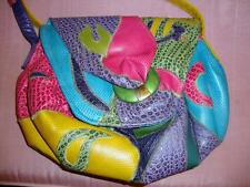 NAS BAG ~ VTG Multi-Color  Faux Reptile Patchwork Crossover Shoulder Bag  ~ EUC!