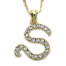 NEW Initial Alphabet Letter S Pendant Necklace High Polish Gold Tone Clear Charm