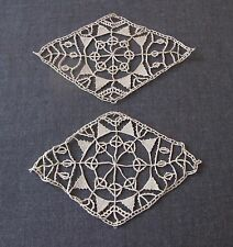 2 ANTIQUE CYPRUS LACE APPLIQUES FOR DOLLS OR CRAFTS  UNUSED  #5522