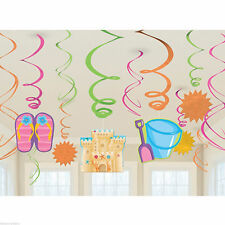 12 Tropical Luau Sun Sunny Fun Party Hanging Cutouts Swirls Decorations